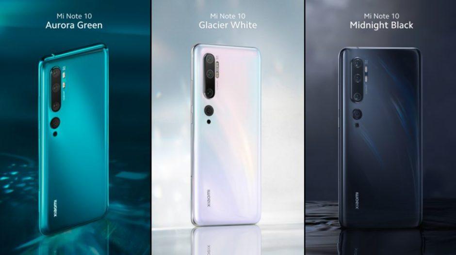 Xiaomi Mi Note 10 coloris