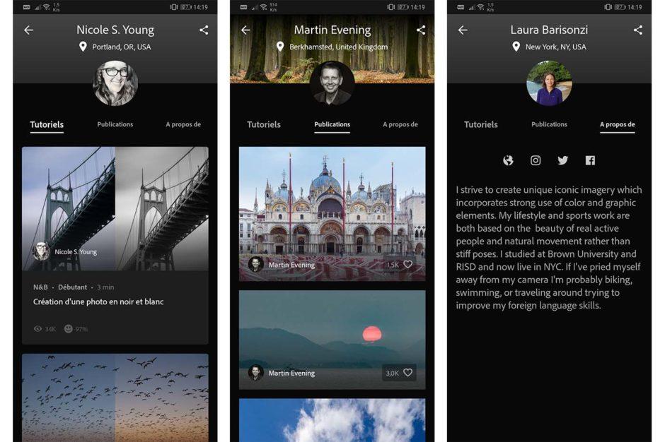 Lightroom Android présentation auteurs tutoriels interactifs