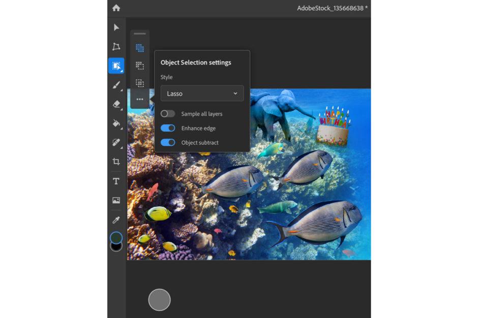 Photoshop iPad outil sélection