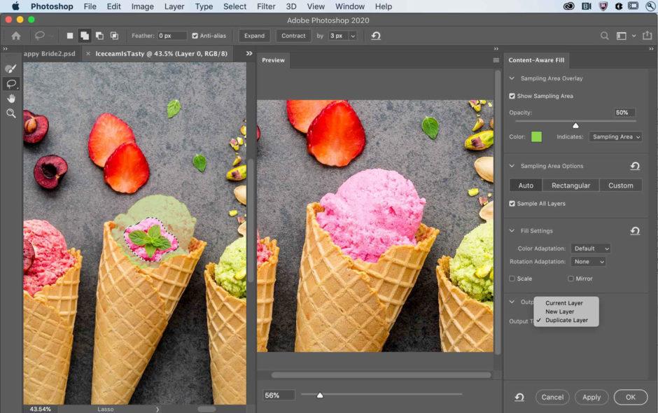 Photoshop remplissage intelligent d'après le contenu