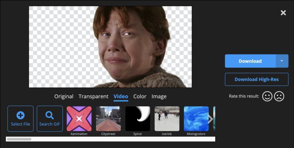 Détourer GIF Unscreen