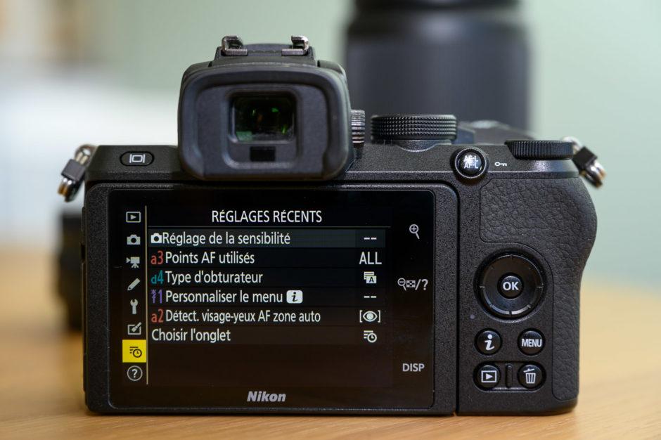 Menu réglages récents sur le Nikon Z 50